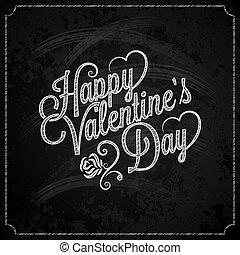 lettering, ouderwetse , valentines, krijt, achtergrond, dag