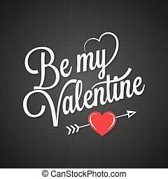 lettering, ouderwetse , valentines, zwarte achtergrond, dag