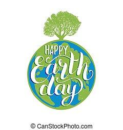 lettering, silhouette, poster, globe, boompje, illustratie, hand, achtergrond., vector, aarde, enz., dag
