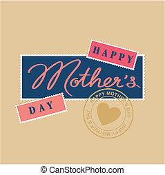 lettering, vrolijke , hand, dag, moeders