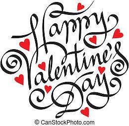 lettering, vrolijke , hand, dag, valentijn