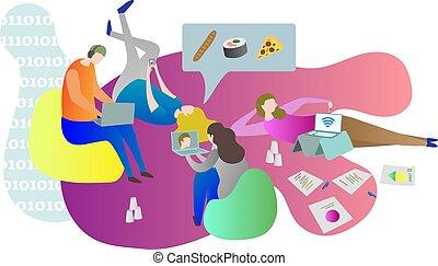 leven, gadgets., vrouwtjes, relaxen, mannetjes, het leggen, scène, samen, terwijl, college student, online, conceptueel, gebruik, indoors., vrienden, verkillend, grond