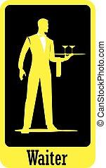 lichaam, garçon, volle, silhouette, staand, plateau., waiter., houden
