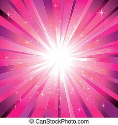 licht, magenta, sterretjes, het fonkelen, barsten