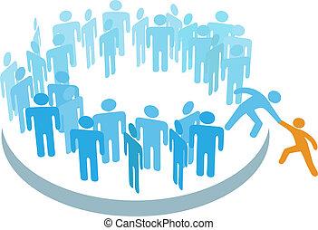 lid, groep, helpen, mensen, groot, nieuw, toevoegen