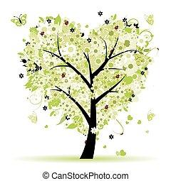 liefde, blad, boompje, hartjes, valentijn