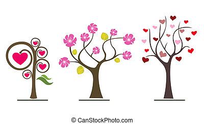 liefde, bomen, valentijn, symbolen, icons., trouwfeest, of, dag