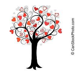 liefde, boompje, rood, hartjes