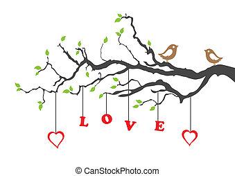 liefde, boompje, twee vogels