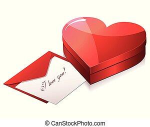 liefde, chocolade, vrolijke , kaart, dag, isometric, valentijn, cadeau, vector, s, doosje