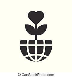 liefde, globe, boompje, planeet, ontwerp, aarde, of, pictogram