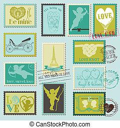 liefde, ouderwetse , -, valentijn, uitnodiging, postzegels, vector, plakboek, ontwerp