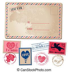 liefde, postkaart, ouderwetse , -, valentijn, uitnodiging, postzegels, vector, plakboek, ontwerp