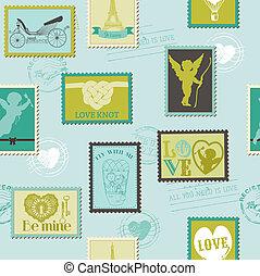 liefde, -, valentijn, uitnodiging, postzegels, vector, achtergrond, plakboek, ontwerp