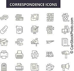 lijn, beweeglijk, signs., web, correspondentie, schets, slag, illustraties, editable, iconen, concept, design.