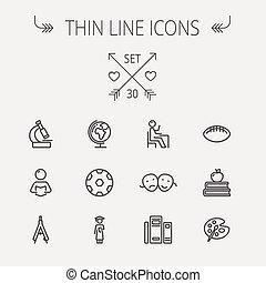 lijn, opleiding, set, mager, pictogram