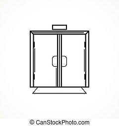lijn, vector, black , glas deur, pictogram, binnen