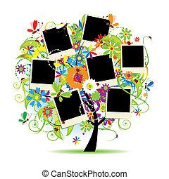 lijstjes, boompje, album., jouw, floral, gezin, photos.