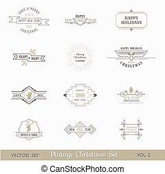 lijstjes, calligraphic, communie, pagina, kerstmis, vector, versiering, ontwerp, ouderwetse , set: