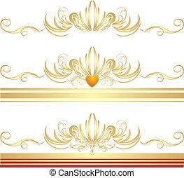 lijstjes, gouden, drie, versieringen
