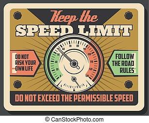 limiet, snelheid, straat, snelheidsmeter, auto