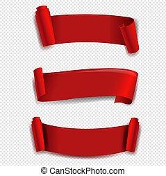 lint, transparant, set, rode achtergrond