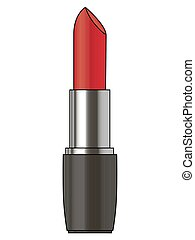 lipstick., voorwerp, vrijstaand, vector, achtergrond, wit rood