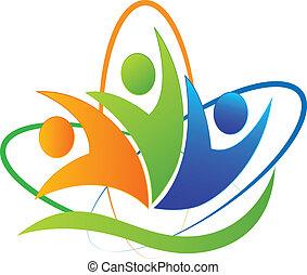 logo, app, vrolijke , succes, mensen