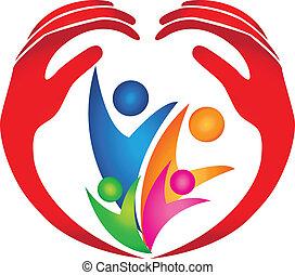 logo, beschermd, gezin, handen