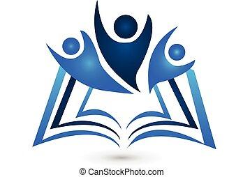 logo, boek, opleiding, teamwork