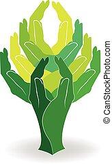 logo, groen boom, handen