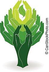 logo, handen, concept, groene