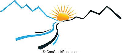 logo, rivier, berg, zon