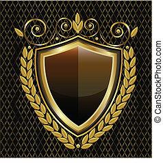 logo, schild, goud