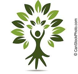 logo, symbool, mensen, boompje, hand