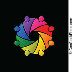 logo, teamwork, het koesteren