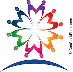 logo, teamwork, mensen, vector