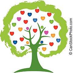 logo, vector, boompje, liefde harten