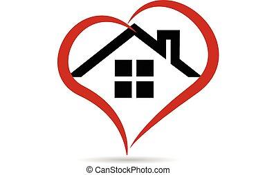logo, vector, hart, woning