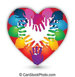 logo, vector, liefde, samen, handen