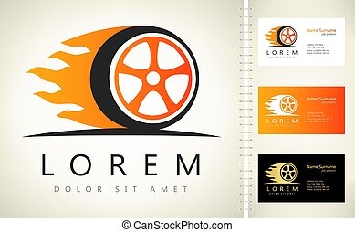 logo, vector, wiel, vlam, vuur