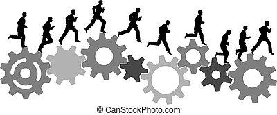 looppas, industriebedrijven, kantoormachine, toestellen, haast, man
