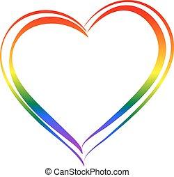 love., symbool, lgbt, hart, vrijstaand, regenboog