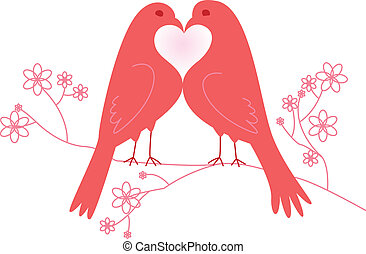 lovebirds., dag, valentine