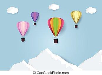 lucht, papier, hemel, stijl, illustration., warme, op, blauwe , knippen, reizen, mountain., balloon, kunst
