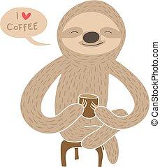 luiaard, koffie, spotprent, hebben