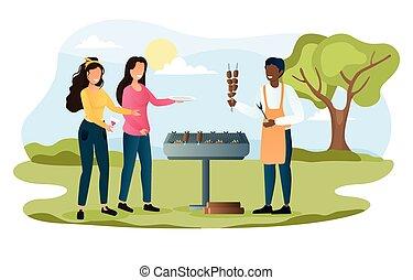 maaltijd, cook, heerlijk, de zomervakantie, vrolijk, mannelijke