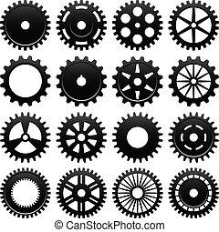 machine, wiel, tandrad, tandwiel