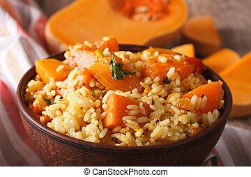 macro, food:, dieet-, rijst, horizontaal, tafel., pompoen