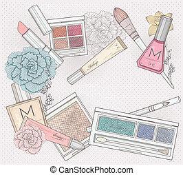 makeup, schoonheidsmiddelen, achtergrond